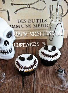 Jack Skellington Cupcakes:Makes 12 cupcakes    2  cups plain all purpose flour    1/3 cup cornflour/cornstarch    4 teaspoons baking powder    3/4 cup caster or superfine sugar    1 teaspoon cinnamon    1/2 teaspoon nutmeg    1/2 teaspoon ginger    1/2 cup milk, with a squeeze of lemon juice to curdle it    125g/4ozs butter, melted    2 eggs, at room temperature    1 cup pumpkin puree
