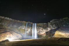 #waterfalls in #Reykjavik #Iceland at Night