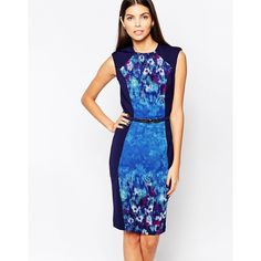 Little Mistress Wiggle Midi Dress in Water Paint Floral (75 BGN) ❤ liked on Polyvore featuring dresses, blue, white dress, midi dress, floral dress, floral print dress and calf length dresses