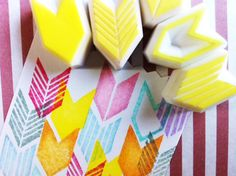 geometric hand carved rubber stamp. chevron handmade rubber stamp. set of 5.