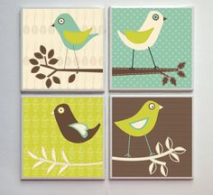 Spring Pasture Birds -- Ceramic Tile Designer Coasters -- 4pc. Set -- Teal Brown Green Cream on Etsy, $14.00 Fabric Coasters, Ceramic Coasters, Modern Coasters, Coaster Design, Madhubani Painting, Bird Patterns, Bird Illustration, Green Cream, Animal Paintings