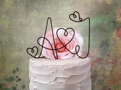 Personalized Cake Topper with YOUR INITIALS Rustic by AntoArts, $25.00
