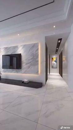 Living Room Tv Unit Designs, Ceiling Design Living Room, Tv Wall Design, Home Room Design, Dream Home Design, Modern House Design, Home Interior Design, Interior Decorating, Modern Living Room Design