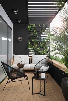 Modern Balcony, Small Balcony Design, Small Balcony Garden, Small Balcony Decor, Outdoor Balcony, Outdoor Decor, Balcony Ideas, Small Balcony Furniture, Terrace Ideas
