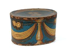 American, late 19th century. An oval wallpaper band box
