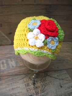 SAlE Clearance Flowers Baby Girl Hat Yellow by KnitCrochetbyMarina, $21.00