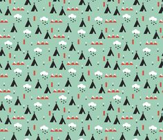 © Little Smilemakers Studio - Maaike Boot  Coral and mint teepee print for this years fall and autumn fashion. Home decor textiles and indian theme baby nursery fabric.