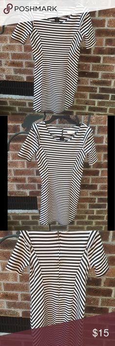 ⬇️Price Drop⬇️LUSH Black & White Stripe Dress MED Very cute dress to wear alone or as a layering piece. Quality knit of Polyester, rayon, spandex. Very good condition Lush Dresses Midi
