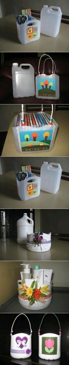 Recycling : Plastic Bottle Pencil and Paper Clip Holder