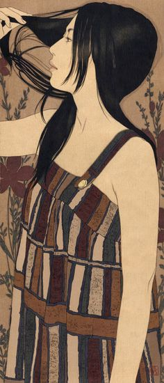 """Makiko 087"" - Ikenaga Yasunari (b. 1965), sumo-ink, mineral pigments and hide-glue on linen canvas, 2011 {figurative art beautiful Japanese female standing asian woman mixed-media painting} ikenaga-yasunari.com"