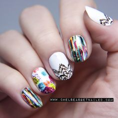 These beautiful nails take a lot of work and hand painting - aren't they great!