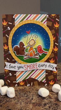 Lawn Fawn Love you smore, stitched circles | by kdgtchr208