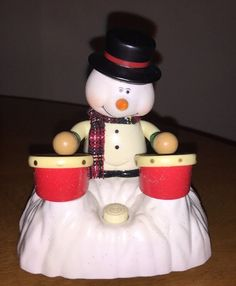 Snowman Drummer Animated Battery Christmas Music Toy Plays Drums Chain Fong