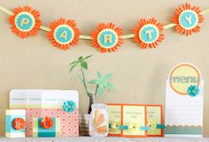 @Nina Yang's winning party ensemble has a fresh and vibrant color combination for a spring or summer party. It's also very versatile; it could be used for anything from a birthday party to a baby shower, and look at all those pieces! A menu, cards, treat boxes, a banner, and more!