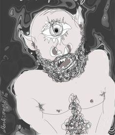 POLIFEMO: RETRATO EN ESTRAMBOTE// Cabeza-buque en donde ambas orejas flamean como velas puntiagudas; atroz carátula portada por semblante que al entrecejo toda una ceja tiende; llamarle bizco resulta en oxímoron al no haber otro ojo compañero; crespa barba poblada de los restos ya putrefactos de víctimas comidas; mala persona sí, era mala persona aunque no en un ciento por ciento: la Belleza la vivía en Galatea…—…
