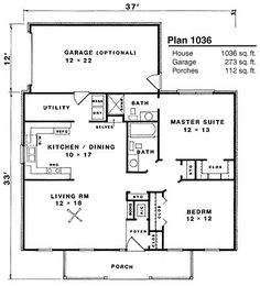 2 baths = This small Country House Plan has a Ranch style that is perfect for an empty nester or a family just starting out. The Plan, How To Plan, D House, Tiny House Living, Cottage Plan, Cottage Homes, Small House Plans, House Floor Plans, Small Country Homes