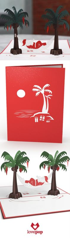 Santa enjoys a nice drink in the sun in this whimsical Merry Christmas Card. This 3D pop greeting card is the perfect way to delight your friends and family this Holiday Season. #ChristmasCards