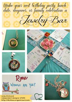 Ideas for a 10under Origami Owl jewelry bar or tea party at a birthday party. #party #youngchildparty