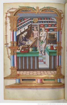 """""""Adam and Eve at the pharmacy"""" / Adam et Eve à la pharmacie Chants royaux sur la Conception, couronnés au puy de Rouen de 1519 à 1528"""