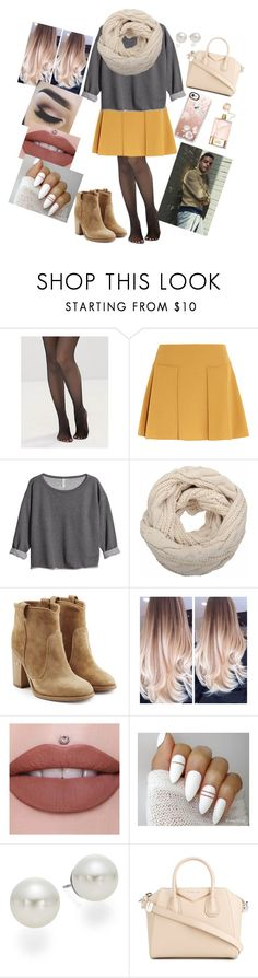 """""""Grey and Yellow"""" by annaconley on Polyvore featuring Leg Avenue, See by Chloé, H&M, Laurence Dacade, AK Anne Klein, Givenchy, Casetify and Chloé"""