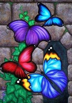 Items similar to ORIGINAL Fantasy Butterfly Wings Ivy Vine Stone Castle Wall Window Acrylic Painting Whimsical Bug Insect Garden Art Natalie VonRaven on Etsy Colorful Art, Original Paintings, Art Painting, Art Drawings, Drawings, Painting, Art, Canvas Art, Canvas Painting