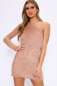 37cdeeda21d Camel One Shoulder Eyelash Knitted Jumper Dress - PDP – I SAW IT FIRST  Jumper Dress