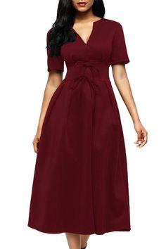 Burgundy Split Neck Short Sleeve Midi Dress with Bowknots