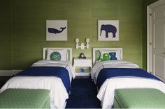 Supercute green and navy bedroom