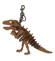 Dinosaur Medium Rexy Bag Charm, Saddle Rainbow