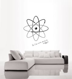 science wall decals | Science art physics Rutherford quote and model of atom vinyl wall ...