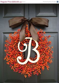 FALL WREATH SALE Monogram Red Berry Christmas Wreath- Monogram Wreaths- Holiday…