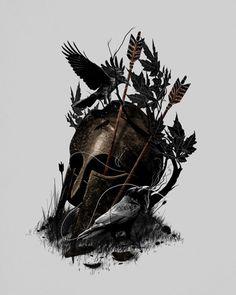 Legends Fall Canvas Print by nicebleed Gladiator Tattoo, Backpiece Tattoo, Spartan Tattoo, Fall Canvas, Autumn Art, Canvas Prints, Art Prints, Print Artist, Cool Artwork