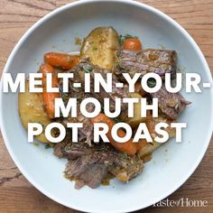 Slow-simmered and seasoned with rosemary, mustard and thyme, this tender and tasty crock pot roast and potatoes recipe is so easy to make and always a hit. Substitute burgundy or brandy plus a half-cu Crock Pot Recipes, Pot Roast Recipes, Meat Recipes, Slow Cooker Recipes, Cooking Recipes, Healthy Recipes, Healthy Meals, Crockpot Beef Roast Recipes, Crock Pot Roast Beef
