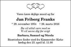 Dødsannonce - Jan Friberg Franks - Borup