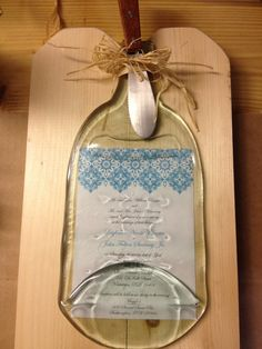Wedding Inivitation Cheeseboard by Recycled1 on Etsy, $24.99--- darling way to preserve your invitation!