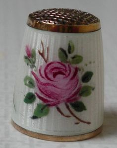 Antique David Andersen Sterling Silver & Enamel Thimble w/Roses from Denmark