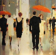 Contemporary Art - Lorraine Christie.  Seems to be a black and white affair.  Lovin the red umbrellas.