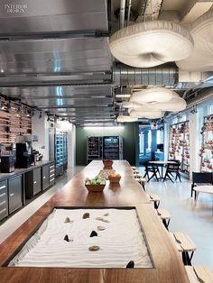 Motorola HQ Office, a miniature Zen garden punctuates the walnut counter in a pantry.