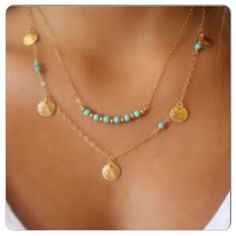 """⚡️SALE⚡️ Boho Double Strand Necklace Boho layered, double stranded necklace with teal beads & round shiny disc charms. Attached longer 2nd strand hangs ~ 1-2"""" lower than the first. Very 'Hip' fashion necklace. Approximate size: 18.5""""L with 2"""" extender. No Trades. ✨Note: All products are free from detectable defects by me unless otherwise stated in the description. All products are sold as is & without refunds or returns.✨ Boutique Jewelry Necklaces"""