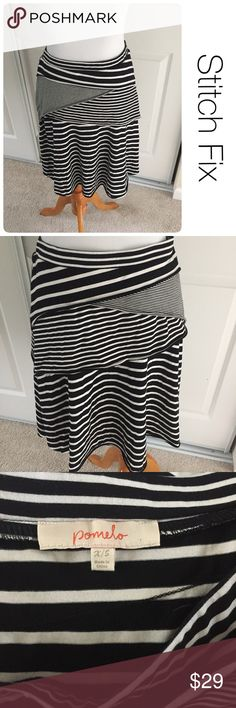 "Stitch Fix Pomelo black and white striped skirt xs ♦️Excellent condition. No holes, stains or piling.                                                 ♦️Materials- cotton blend ♦️Measurements:                               ♦️waist is 13""                  ♦️23"" long Stitch Fix Skirts Mini"