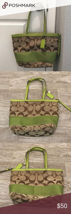 Coach like green and brown satchel purse Gorgeous lime green and brown Coach satchel purse. Lime green inside. EUC! Pretty for spring! Coach Bags Satchels