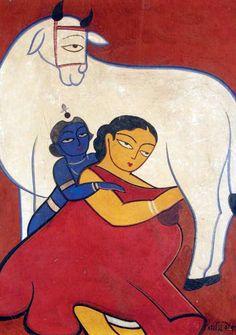 30 Breathtaking Jamini Roy Paintings that Every Art Lover should See Phad Painting, Worli Painting, Indian Folk Art, Indian Artist, Om Namah Shivaya, Ganesha Drawing, Ganesha Painting, Jamini Roy, Krishna Art