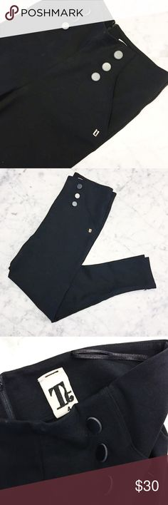 "Black Skinny Sailor Pants in Quality Stretch Ponte High quality two way stretch black sailor button skinny pants.  With great sailor button detail.   Measurements:  waist: 31 stretches to 34"". Hips: 37 stretches to 41"".  Inseam: 32"".  Purchased at Barneys Barneys New York Pants Skinny"