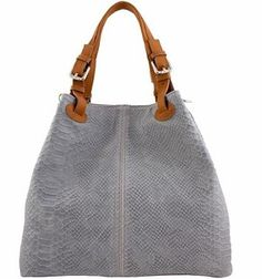 Gray Etasico Italian Leather Handbags Iris Snakeskin Print Bags $185 on SALE $129 #EtasicoIris