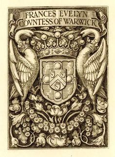 Ex libris by GW Eve for Frances Evelyn, 1902 (from the archives King's College, Cambridge) : Viner 83 Ex Libris, Vintage Books, Vintage Posters, Monogram Tattoo, Alchemy Art, Book Of Kells, Chalk Pastels, Wood Engraving, Old Paper