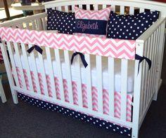 4pc Crib Bedding Set  Navy Blue Pink White  by leahashleyokc, $160.00