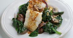dampet fisk med sopp og spinat