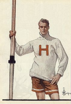 Sept 1906 Saturday Evening Post Harvard Rower Cover art by J. C. Leyendecker (1874-1951) by The Happy Rower, via Flickr