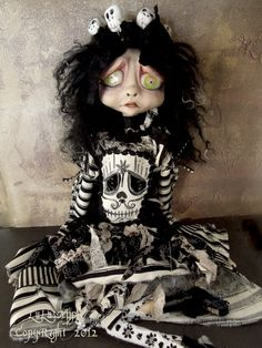 "Gothic Art Doll Halloween Skeleton mask 18"" Doll OOAK Mirabel, via Etsy."