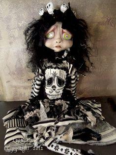 "Gothic Art Doll Halloween Skeleton mask 18"" Doll OOAK Mirabel, via Etsy."